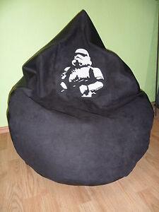 Sitzsack XL von Lux ca. 380 Star Wars Lederoptik schwarz /Druck Star ...