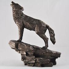 Bronze Wolf Statue Howling Ornament Sculpture Woods Mystical Wildlife NEW 07118