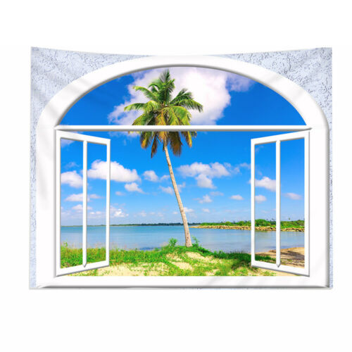 Window Scenery Tapestry Wall Hanging Mats Background Cloth Rug Room Decoration