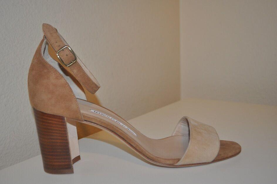 NEW Manolo Blahnik LAURATOMOD Ankle Strap Block Heel Beige Brown Suede 39 - 9