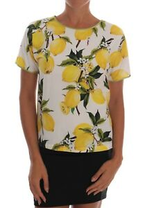 33a0c3790 NEW $650 DOLCE & GABBANA Lemon-Print Floral Top Blouse T-Shirt IT36 ...