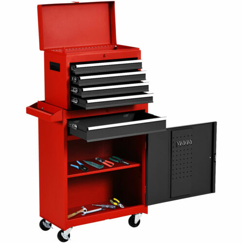 2 in 1 Rolling Tool Box Organizer Tool Chest w// 5 Sliding Drawers Durable