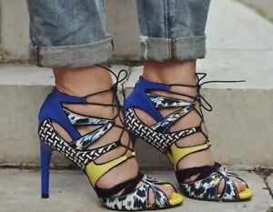 ZARA-Multicoloured-Lace-Up-Heels-Sandals-Blue-Yellow-Leather-Combination-UK-4