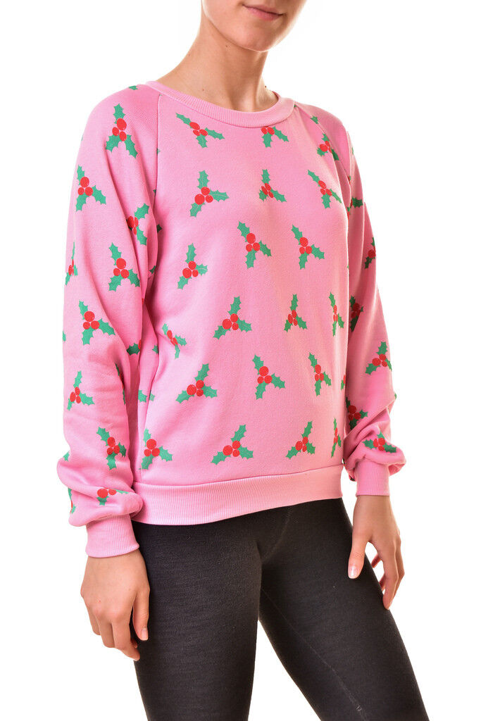 Wildfox Womens WFL19084P WFL19084P WFL19084P Cozy Printed Junior Sweatshirt Pink XS RRP  BCF811 739066