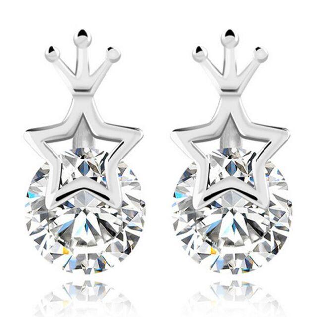 Plated Lady Crystal Elegant Stud 1Pair Earrings Crown Shape Women Rhinestone