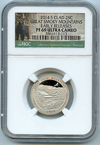 2014 S Great Smoky ATB NP Quarter PF69 UCAM Silver NGC 25c Proof Certified Coin