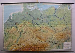 Wall Map Germany Deutsche Sprachraum 242x168 1960 Vintage Middle