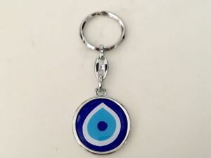 Evil-Eye-Greek-Mati-Turkish-Nazar-Metal-Double-Sided-Key-Ring-Blue-Protection