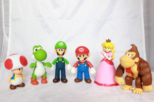 "Super Mario Brothers Parti 5/"" Action Figures Luigi Yoshi Donkey Kong Peach Toad"