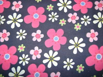 Flower Power Navy Polycotton Prints  Craft / Dress Fabric FREE P+P SOLD PER METR