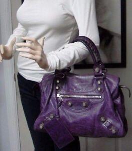 7eb8521b8d9c Image is loading 1895-Balenciaga-Purple-Grape-Leather-Large-Giant-City-