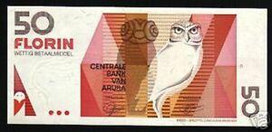 1993 Aruba 50 florin P-13 UNC /> owl florin