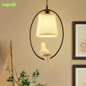 American country style chandelier resin bird led lamp cloth shade image is loading american country style chandelier resin bird led lamp aloadofball Image collections