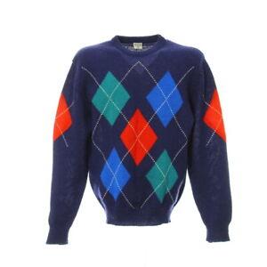 Strickpullover-Schurwolle-Gr-L-Vintage-Sweater-Rautenmuster-Mehrfarbig-Rundhals