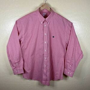 Brooks Brothers 346 Button Down Shirt Mens XL Non Iron Red Check Long Sleeve