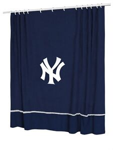 Image Is Loading New York YANKEES Jersey Mesh Fabric Shower Curtain