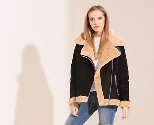 Charcoal-Fashion-Women-039-s-Black-Shearling-Aviator-Biker-Jacket