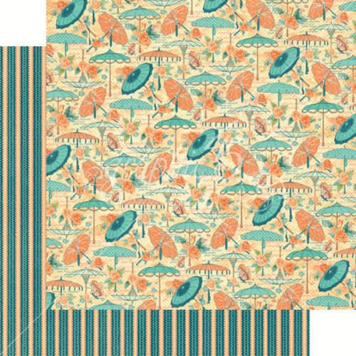 8 Pages Graphic 45 Cafe Parisian Parasol Bouquet Flower Umbrella Cardstock Paper