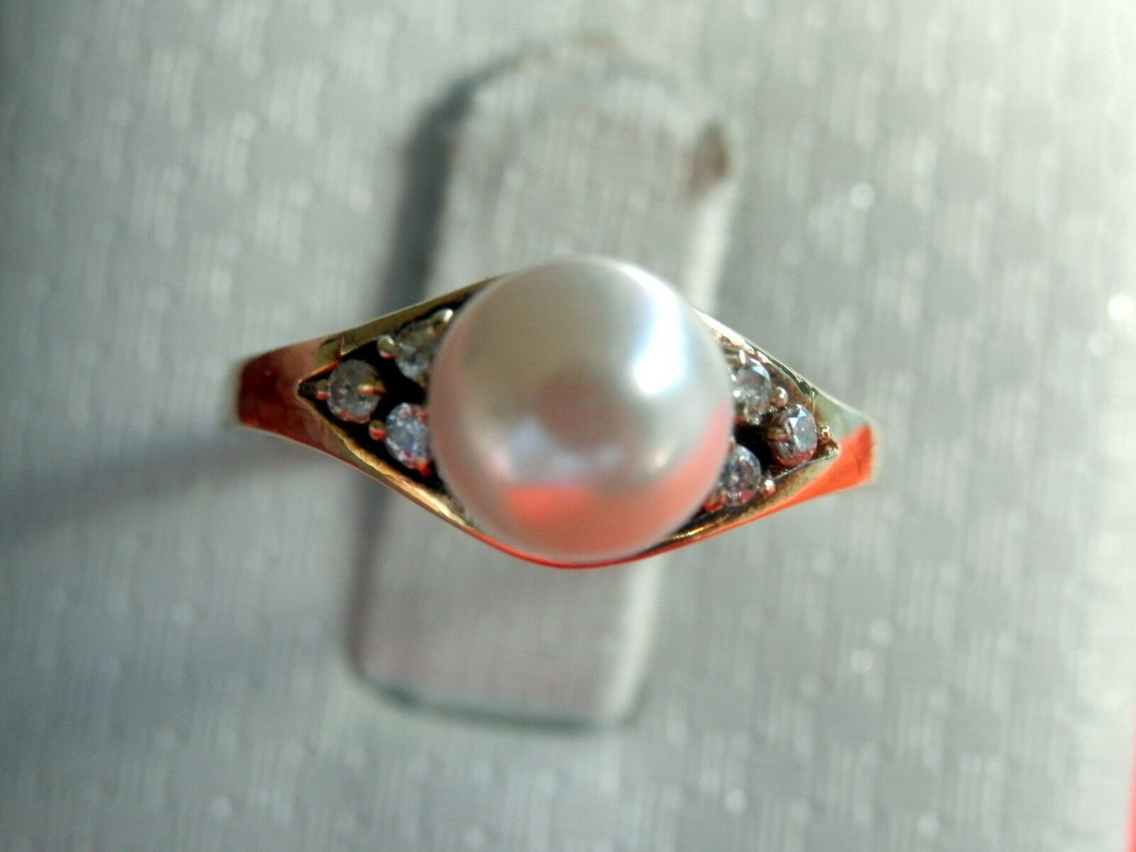 14K Solid Yellow gold 7mm Pearl Tri-Cluster Diamond Accent Ring Size 6