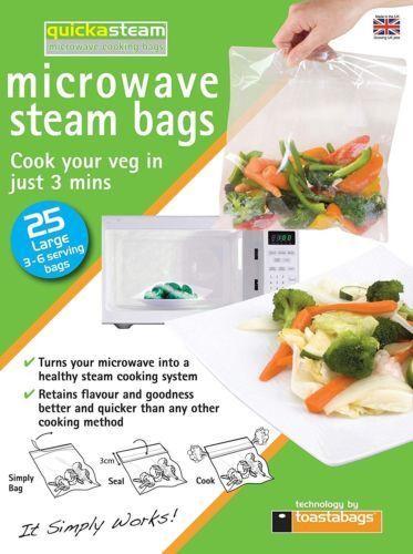 Quickasteam micro-ondes Vapeur sacs cuisson saine taille L 25 ou 50 sacs