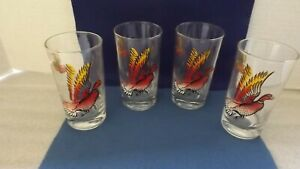 VINTAGE-PHEASANT-WILD-GAME-BIRDS-TALL-HIGHBALL-TUMBLERS-SET-OF-4-VIBRANT-COLOR