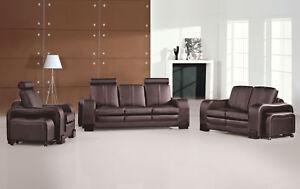 Sofagarnitur Couch 321 Set Polster Leder Sofa Wohnzimmer Sitz