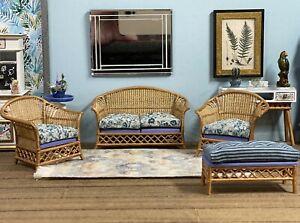 1:16 Dollhouse cane rattan living room set petit floral blue - Lundby scale