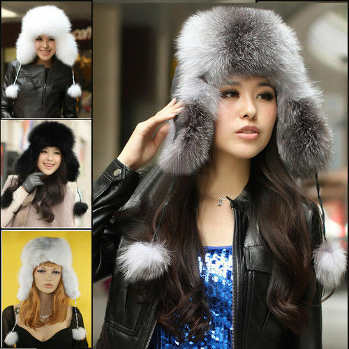 Hot Winter women' cap Russian Ushanka/Cossack 100% Real fox fur hat 4Colors