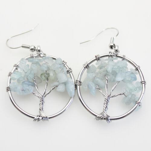 Natural Amethyst lapis lazuli Péridot Chip Perles Arbre de vie argent Boucles d/'oreilles