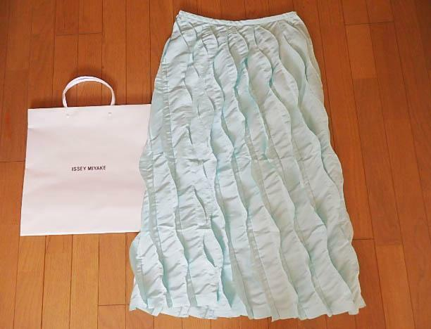 ISSEY MIYAKE PLEATS PLEASE PLEATED Long skirt Size 3 L Light bluee From JAPAN F S
