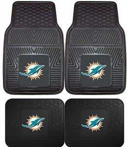 Miami-Dolphins-Heavy-Duty-NFL-Floor-Mats-2-amp-4-pc-Sets-for-Cars-Trucks-amp-SUV-039-s