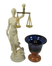 Themis sculpture Goddess of justice plus Pythagorean cup of justice
