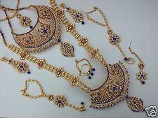 INDIAN WEDDING DESIGNER GOLD FINISH FASHION BRIDAL KUNDAN NECKLACE SET JEWELRY