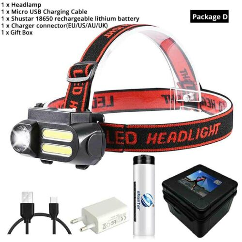Super Bright LED Headlamp COB Work Light 4 Lighting Mode Waterproof Headlight