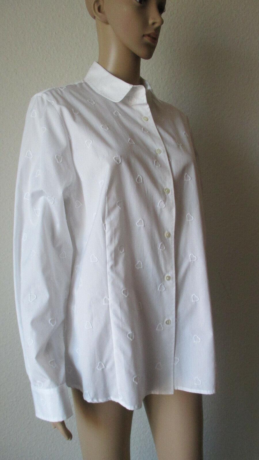 B.M. Company edle weiße Blause, Besteickt mit Herzen,  Größe 46