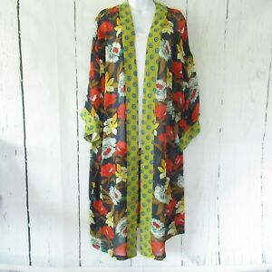 New-Bluheaven-By-Umgee-Kimono-S-Small-Navy-Blue-Floral-Duster-Mixed-Print