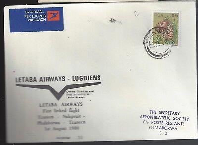 Beducht Rsa Fdc/ffc 1980 Letaba Airways, Tzaneen/nelspruit/phalaborwa/tzaneen, Phala Cd