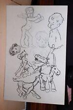 ✒ Adolphe WILLETTE dessin original - études - RECTO VERSO Marianne Cheval etc