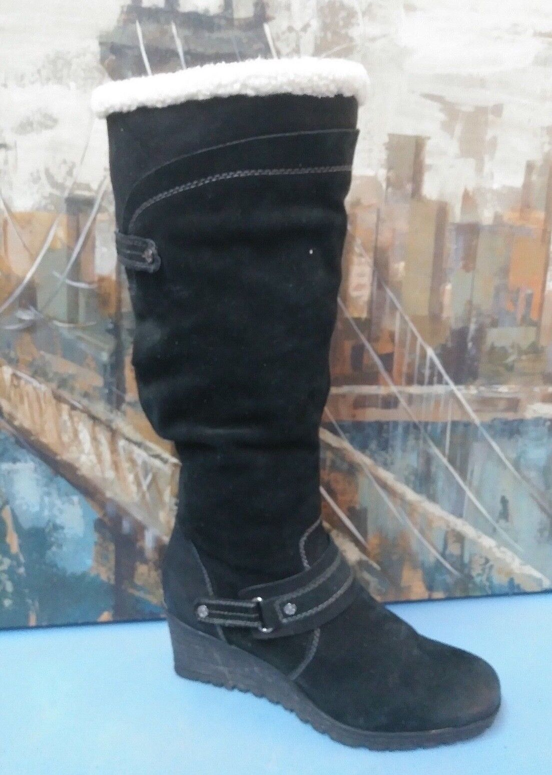 Women's Earth Ridge Knee high boots Black leather Size 9 B