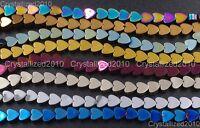 Natural Hematite Gemstone Multi-Color Flat Heart Beads 4mm 6mm 8mm 10mm 16''