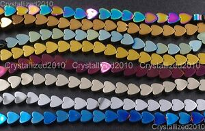 Natural-Hematite-Gemstone-Flat-Heart-Beads-4mm-6mm-8mm-10mm-Metallic-Colors-16-034