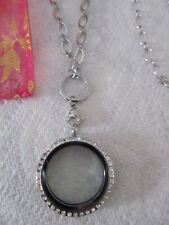 """Large living memory locket CZ stainless steel jewelry silver 32"""" oval link chain"""