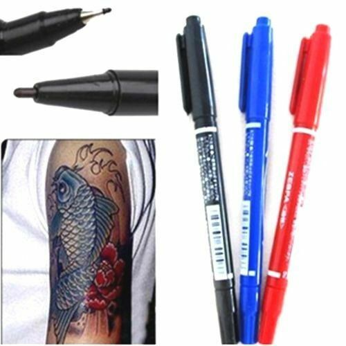 FD163 Dual-Tip Tattoo Skin Marker Piercing Marking Pen Scribe Tool Surgical 1pc