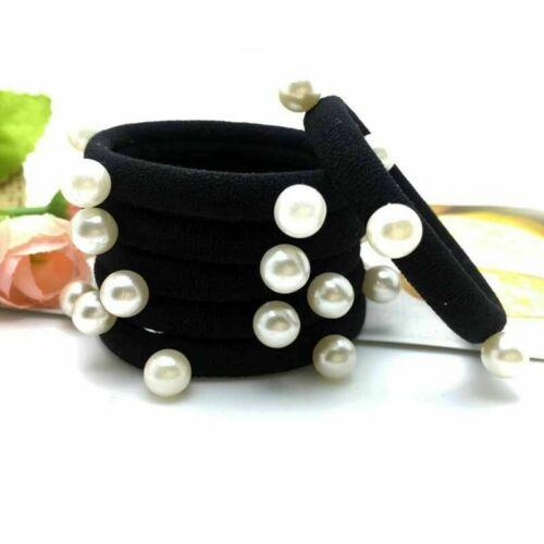 10x Perle Haargummi Haarband Schwarz Bunt Elastisch Pferdeschwanz HOT~ NEU