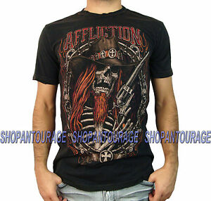 8a10b108 AFFLICTION Tombstone Shooter A11741 New Men`s Black/Brown T-shirt | eBay