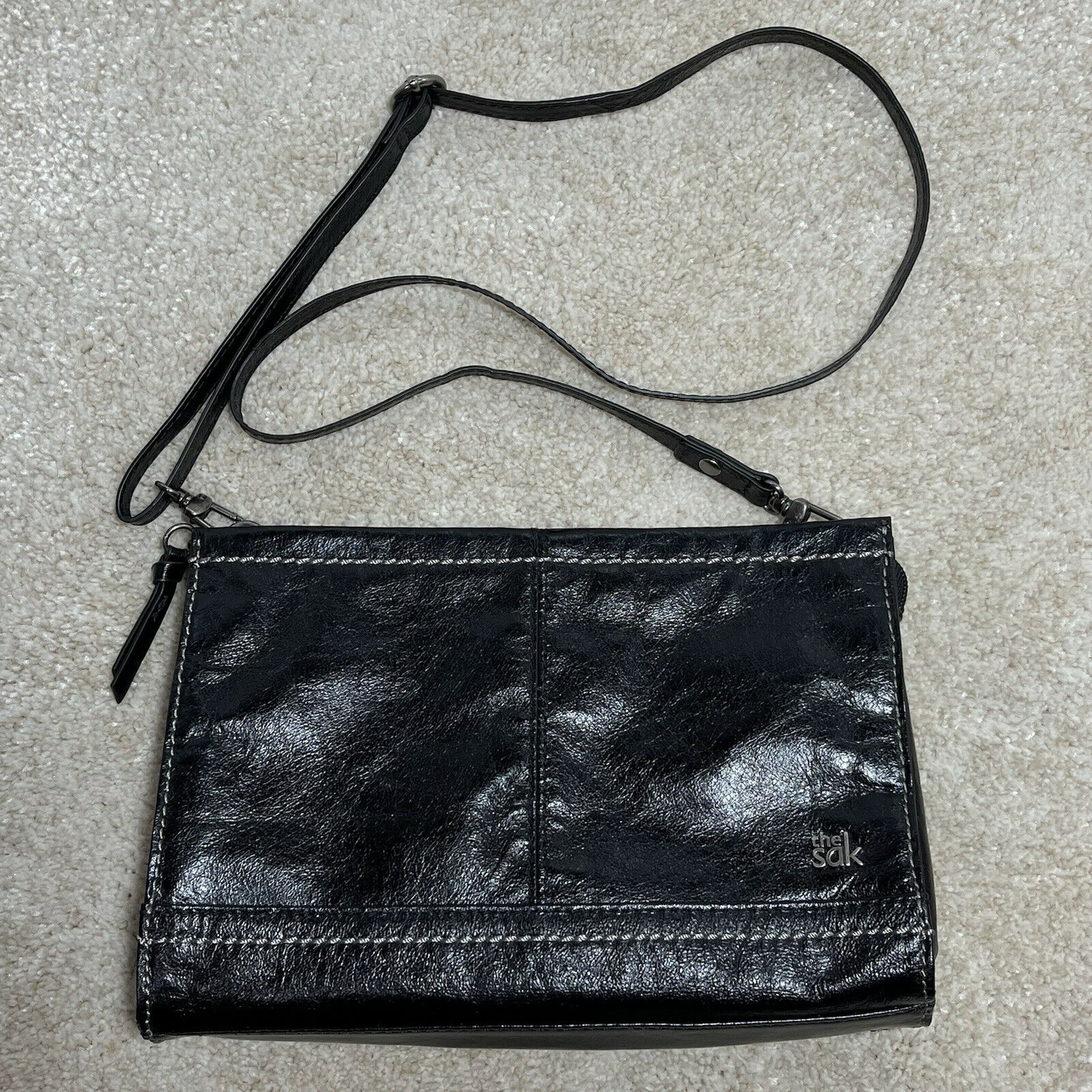 The Sak Leather Iris Black Demi Clutch 3 Way Adjustable Crossbody Strap Bag