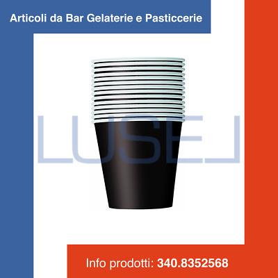 PZ 100 BICCHIERI CARTONE PER CAFFE/' COPERCHIO NERO  CL 10  PAPER COFFEE CUP