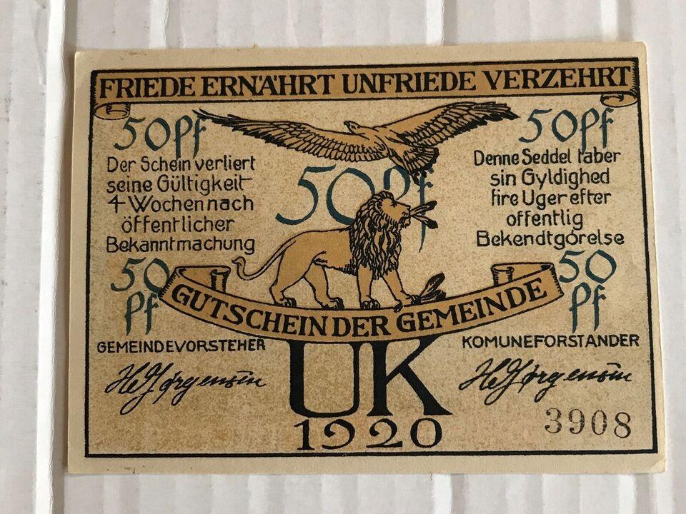Danmark, sedler, 50 Pfennig