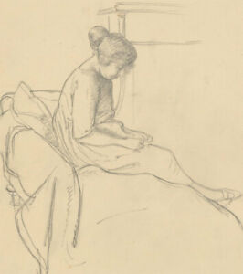 Harold-Hope-Read-1881-1959-Graphite-Drawing-Study-of-Hilda-Sitting