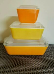 3 PYREX Orange & YELLOW  REFRIGERATOR DISHES & LIDS